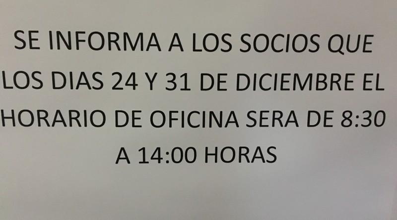HORARIO FIESTAS NAVIDAD